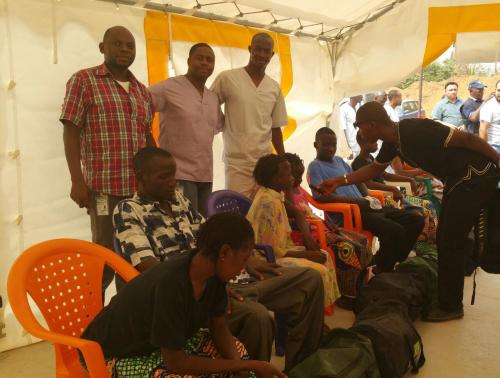01 ASEOWA and partner clinicans celebrate dispatch of Ebola survivors from Coyah ETU (1)