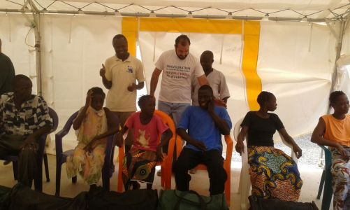 02 ASEOWA and partner clinicians celebrate dispatch of Ebola survivors from Coyah ETU (1)